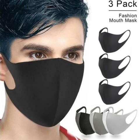 3 Stk. Ansigtsmaske i stof, sort.